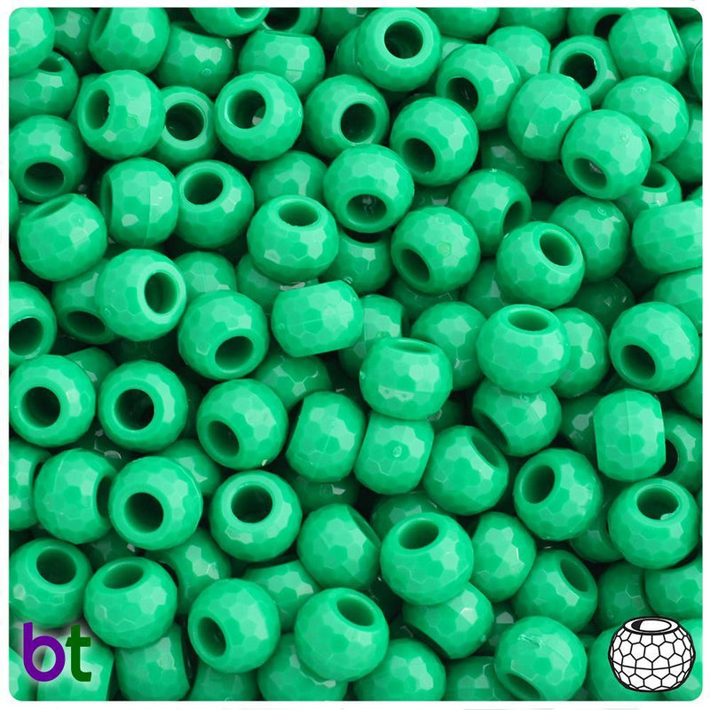 Green Opaque 9mm Faceted Barrel Pony Beads (500pcs)