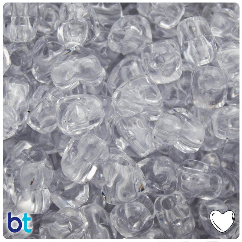 Crystal Transparent 12mm Heart (HH) Pony Beads (50pcs)