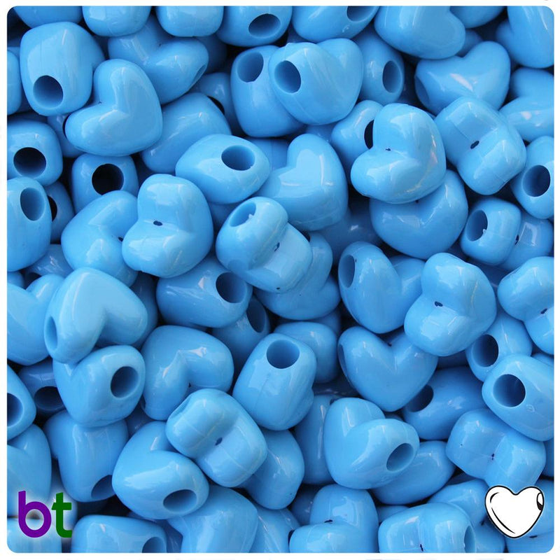 Baby Blue Opaque 12mm Heart (HH) Pony Beads (50pcs)