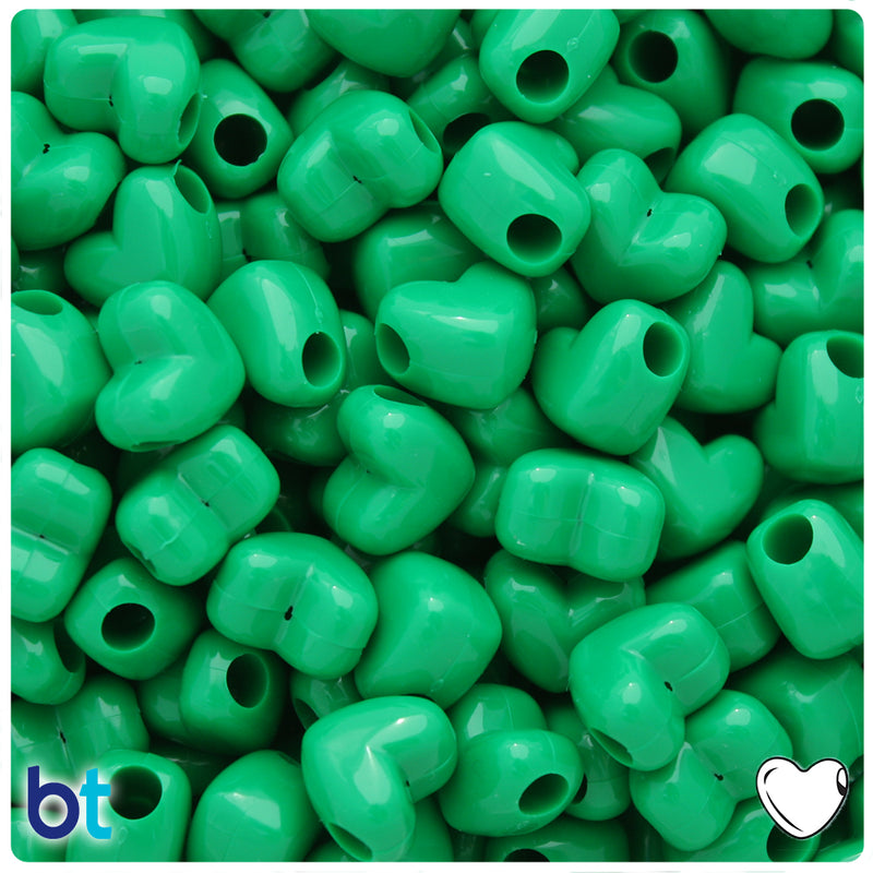 Green Opaque 12mm Heart (HH) Pony Beads (250pcs)