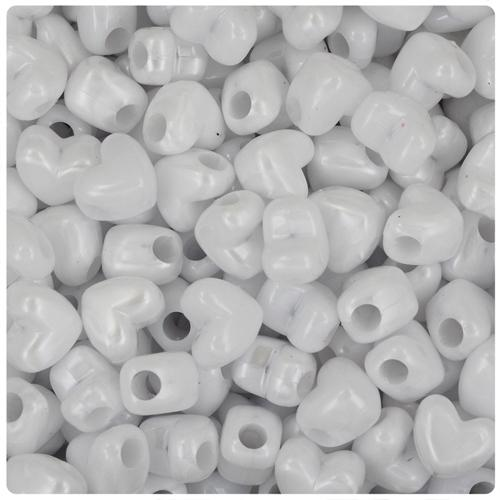 White Pearl 12mm Heart (HH) Pony Beads (50pcs)