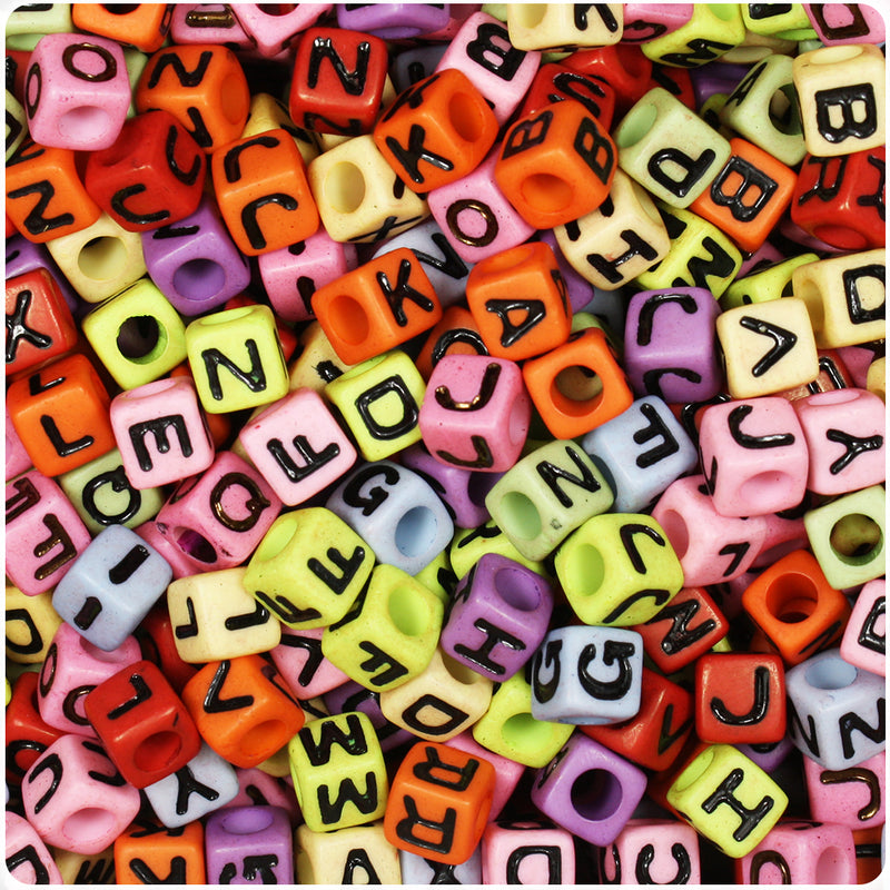 Mixed Opaque 7mm Cube Alpha Beads - Black Letter Mix (160pcs)
