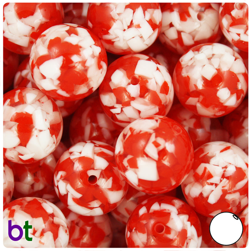 Red & White Chips 20mm Acrylic Bubblegum Beads (5pcs)