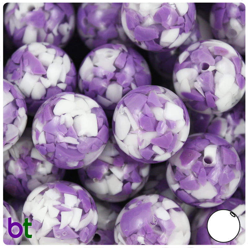 Purple & White Chips 20mm Acrylic Bubblegum Beads (5pcs)