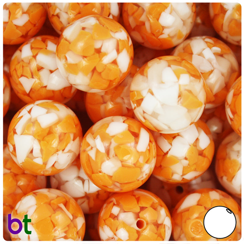 Orange & White Chips 20mm Acrylic Bubblegum Beads (5pcs)