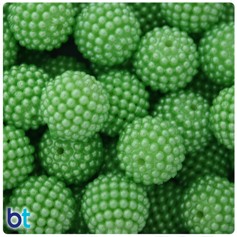 Light Green Pearl 20mm Acrylic Berry Beads (10pcs)