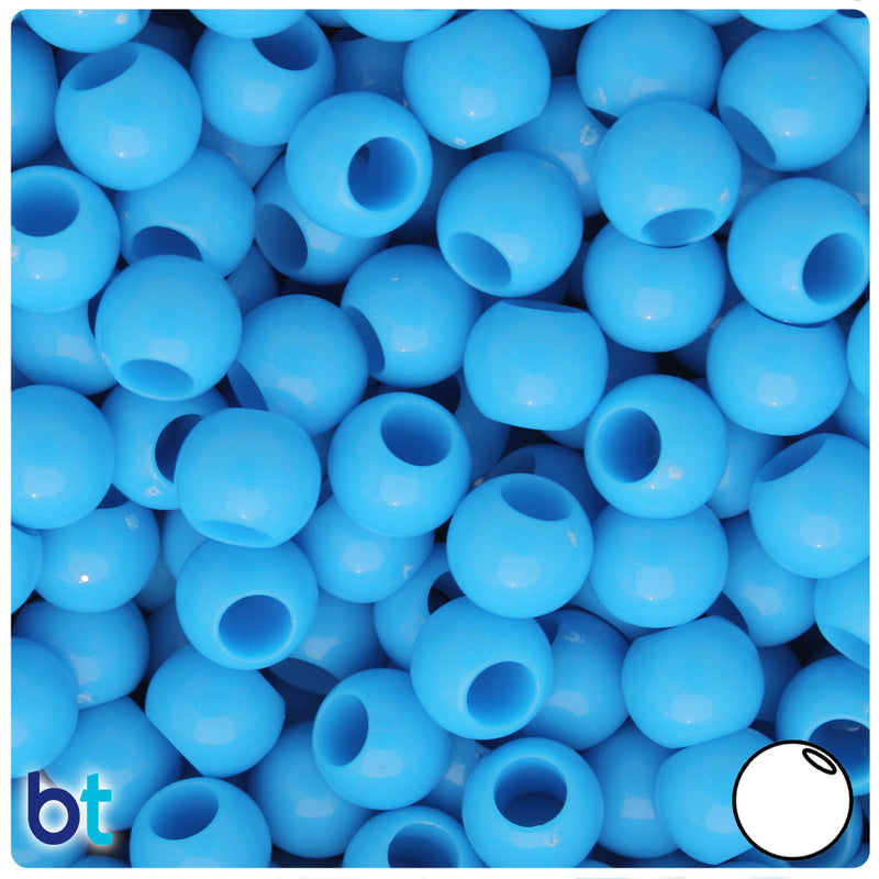 Light Blue Opaque 10mm Round Plastic Pony Beads (125pcs)