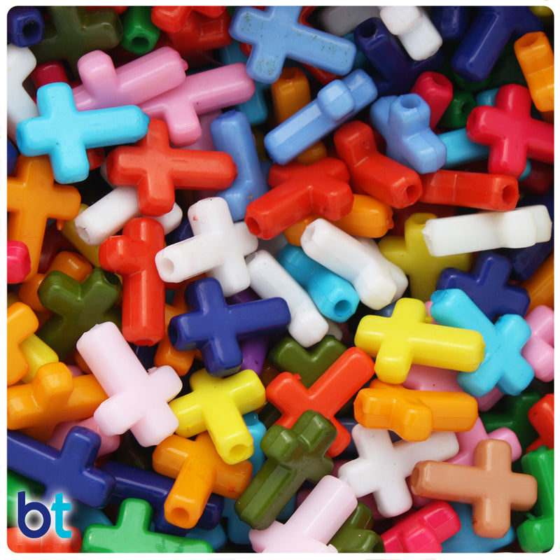 Mixed Opaque 16mm Cross Acrylic Beads (2oz)