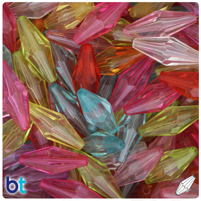 Mixed Transparent 25mm Faceted Bicone Acrylic Beads (40pcs)
