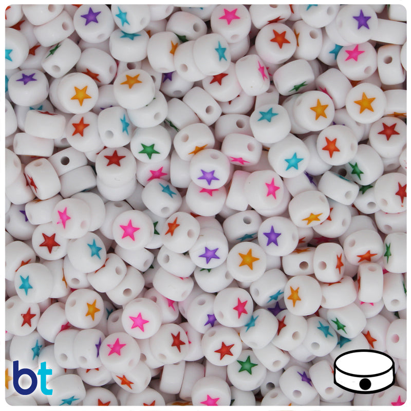 White Opaque 7mm Coin Alpha Beads - Colored Star (100pcs)