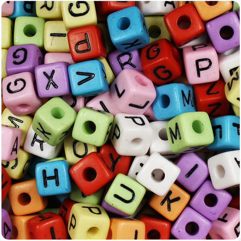 Mixed Opaque 10mm Cube Alpha Beads - Black Letter Mix (100pcs)