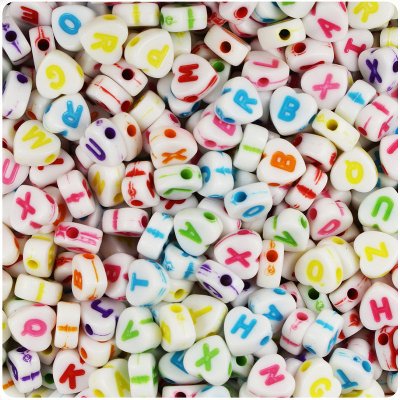 White Opaque 7mm Heart Alpha Beads - Colored Letter Mix (250pcs)