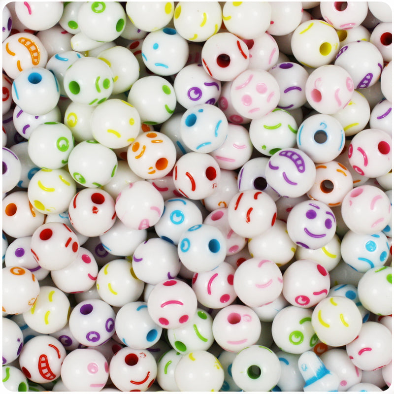 White Opaque 8mm Round Alpha Beads - Colored Faces (100pcs)