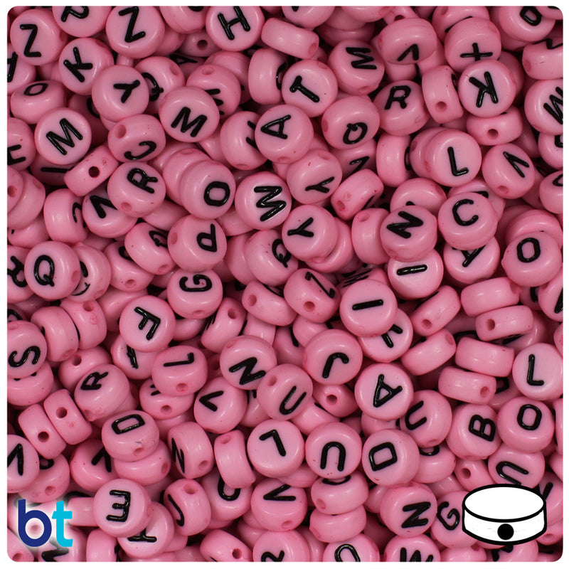 Dark Pink Opaque 7mm Coin Alpha Beads - Black Letter Mix (250pcs)