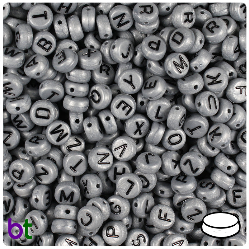 Silver Pearl 7mm Coin Alpha Beads - Black Letter Mix (250pcs)