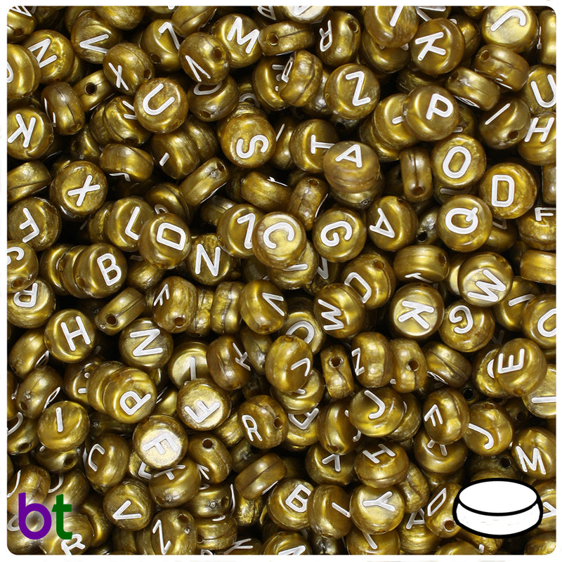 Bronze Pearl 7mm Coin Alpha Beads - White Letter Mix (250pcs)