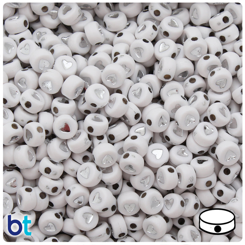 White Opaque 7mm Coin Alpha Beads - Silver Heart (250pcs)
