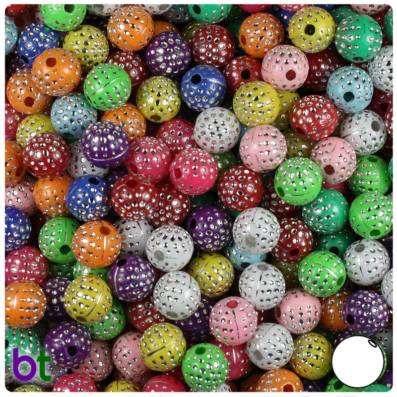 Mixed Opaque 8mm Round Silver Accent Acrylic Beads - Dots (150pcs)