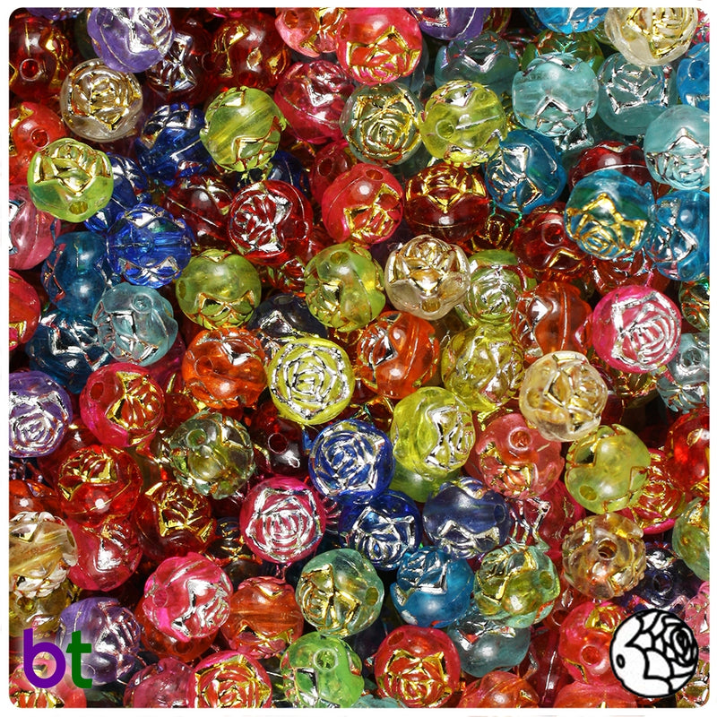Mixed Transparent 8mm Round Silver Accent Acrylic Beads - Rosebuds (150pcs)