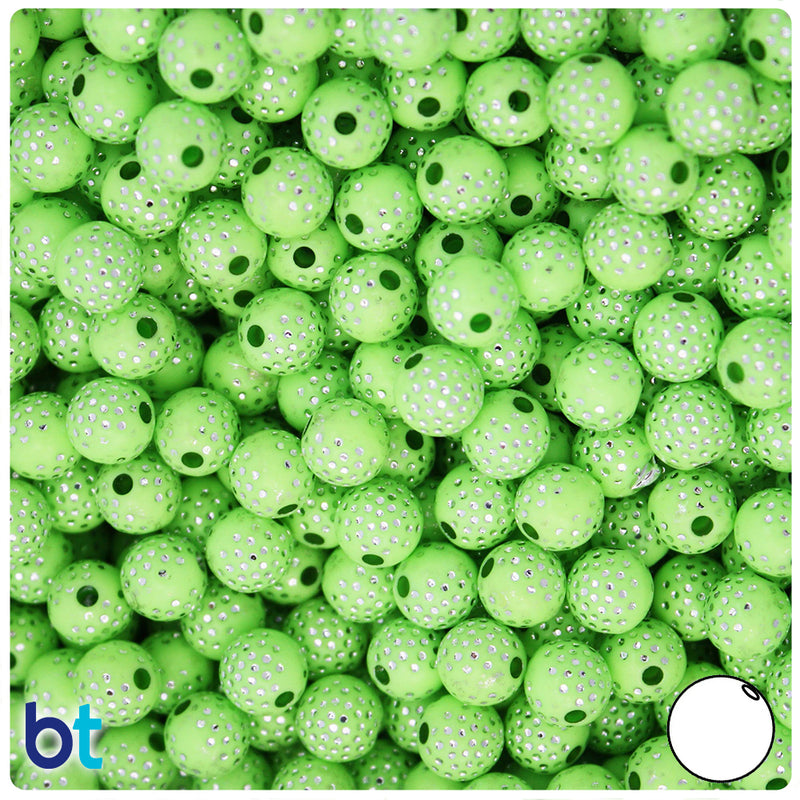 Light Green Opaque 8mm Round Silver Accent Acrylic Beads - Dots (150pcs)