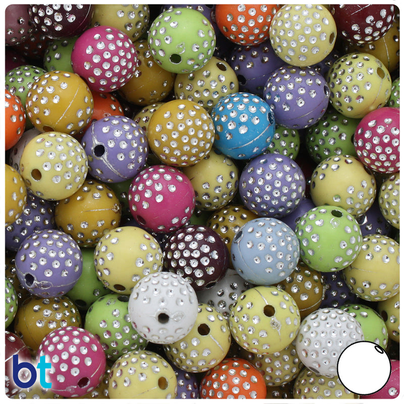 Pastel Mix Opaque 12mm Round Silver Accent Acrylic Beads - Dots (75pcs)