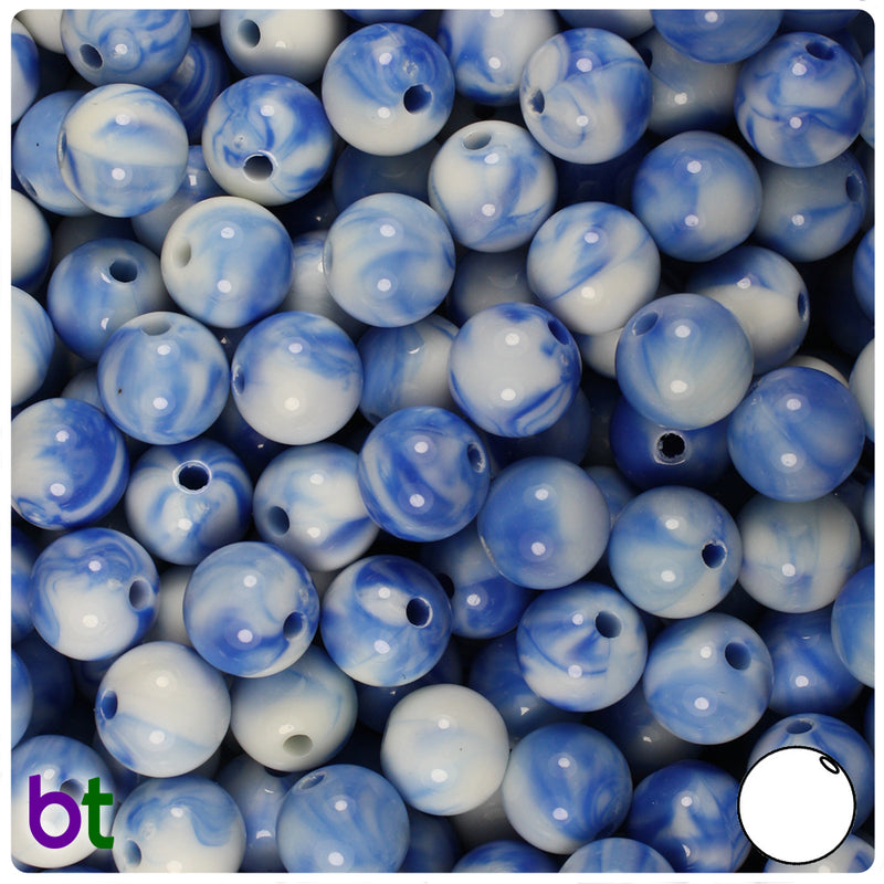 Blue & White Swirls 10mm Round Acrylic Beads (100pcs)