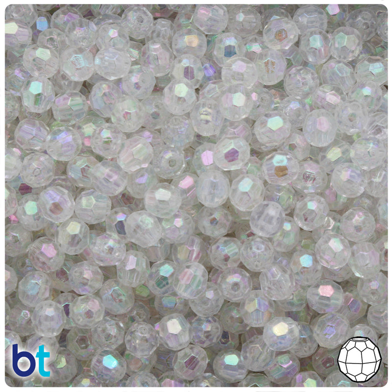 Clear AB Transparent 6mm Faceted Round Plastic Beads (500pcs)