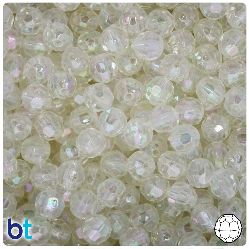 Clear AB Transparent 8mm Faceted Round Plastic Beads (200pcs)