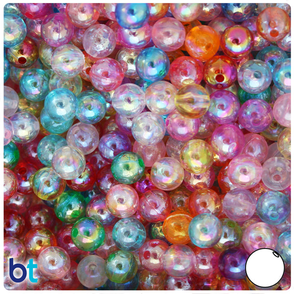 Green and White Glittery holographic Vintage Acrylic Round Beads 8mm 24 Beads