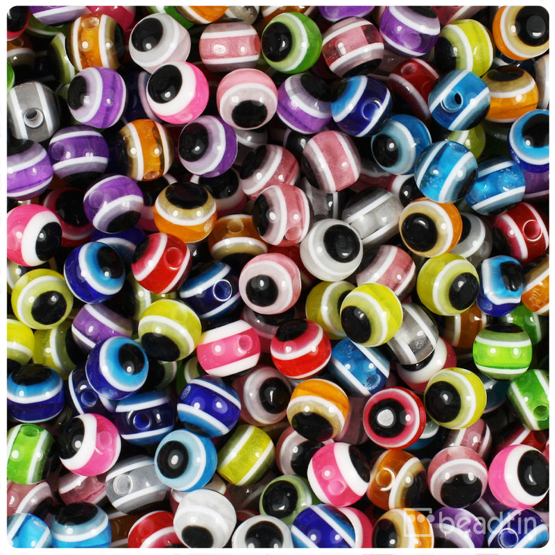 Mixed Colors 6mm Round Evil Eye Resin Beads (150pcs)