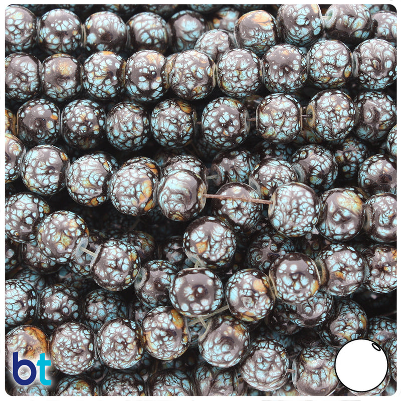 Black, Brown & Turquoise Polished 8mm Round Fashion Glass Beads (100pcs)