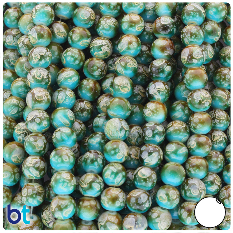 Blue, Brown & Ivory Polished 8mm Round Fashion Glass Beads (100pcs)