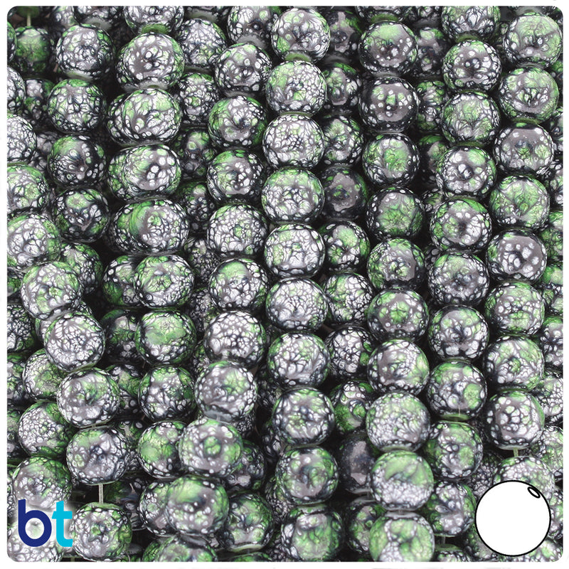Black, Green & White Polished 8mm Round Fashion Glass Beads (100pcs)