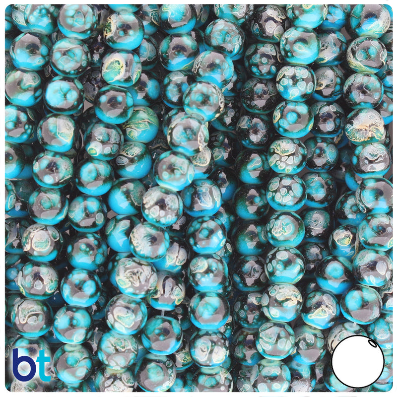 Black, Turquoise & Grey Polished 8mm Round Fashion Glass Beads (100pcs)