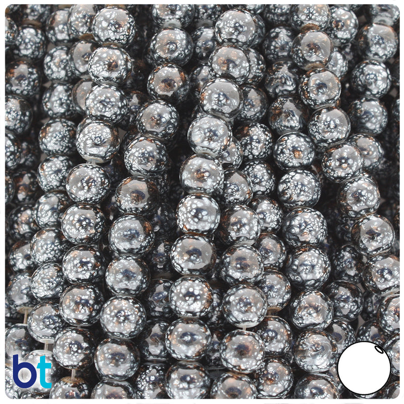Black, Grey & Brown Polished 8mm Round Fashion Glass Beads (100pcs)