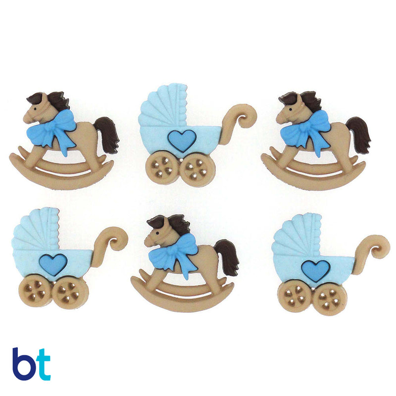 Horse & Buggy - Blue Buttons