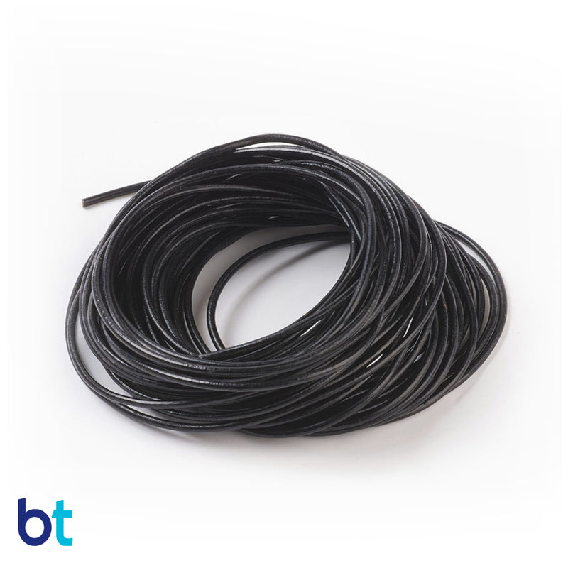 Black 2mm Round Leather Cord (10m)
