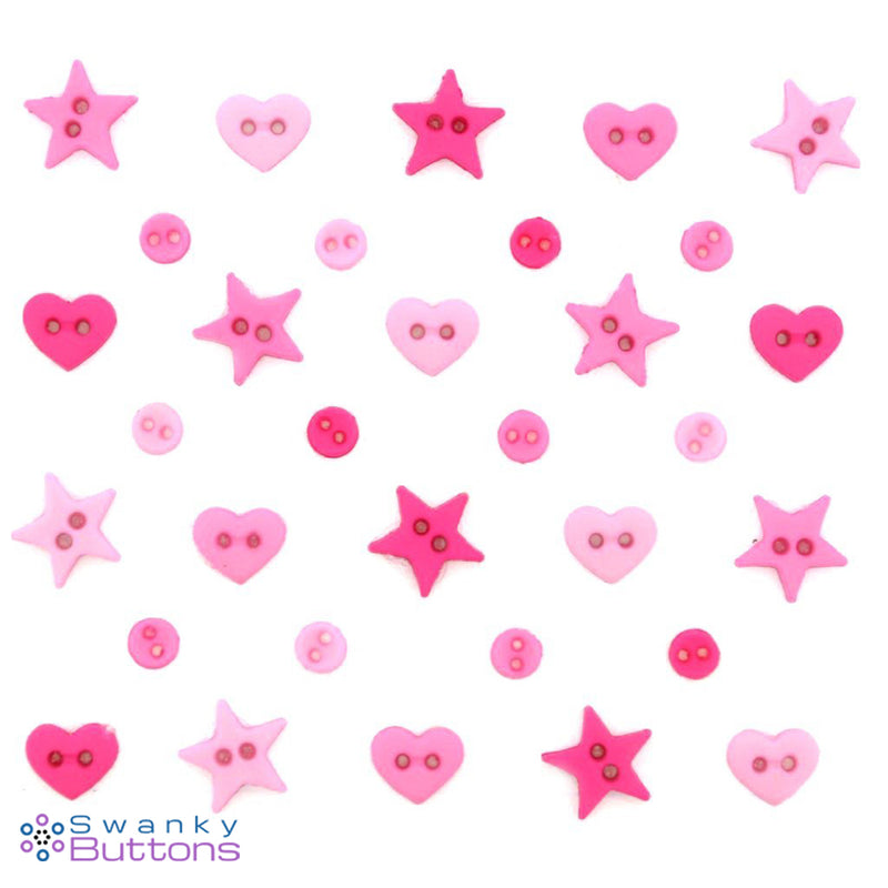 Micro Shapes - Hot Pink Mix Buttons