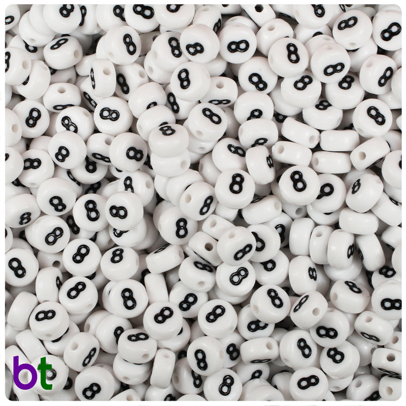 White Opaque 7mm Coin Alpha Beads - Black Number 8 (100pcs)