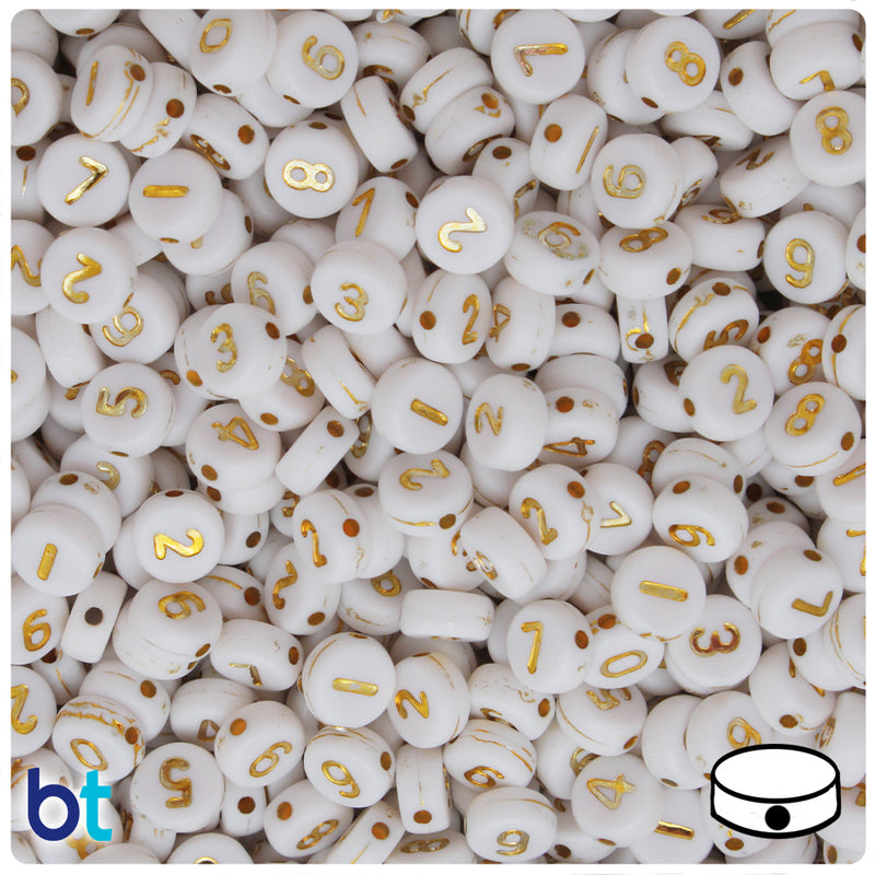 White Opaque 7mm Coin Alpha Beads - Gold Number Mix (250pcs)