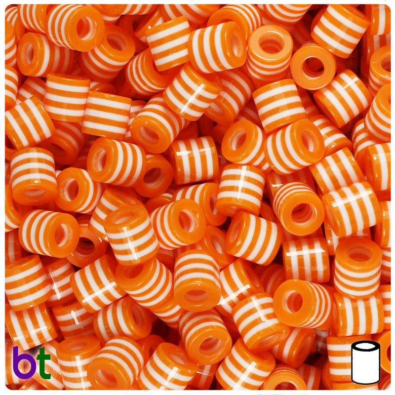 Orange & White Striped 8mm Drum Resin Beads (100pcs)