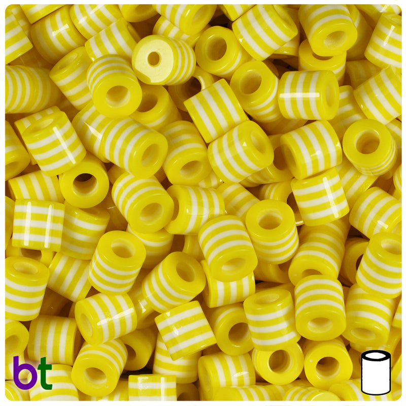 Yellow & White Striped 8mm Drum Resin Beads (100pcs)