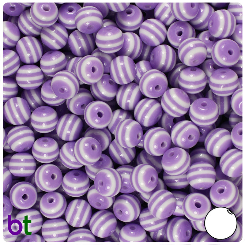Purple & White Striped 8mm Round Resin Beads (120pcs)