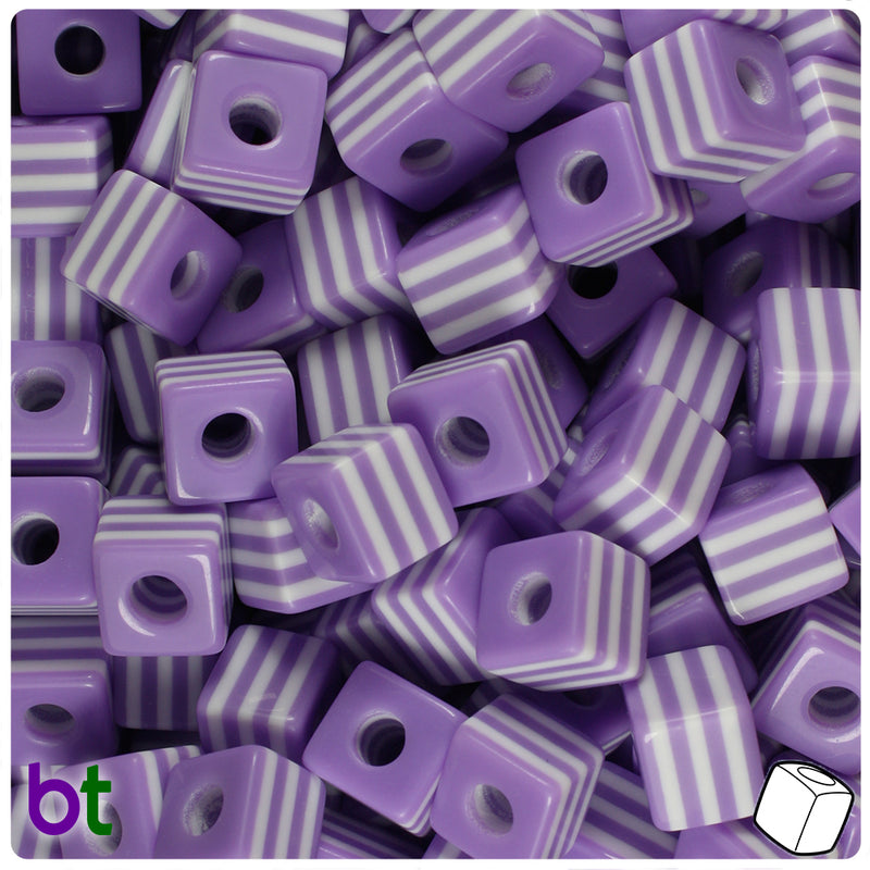 Purple & White Striped 10mm Cube Resin Beads (100pcs)
