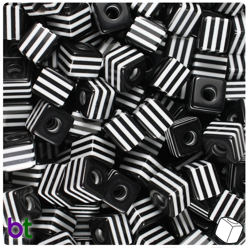 Black & White Striped 10mm Cube Resin Beads (100pcs)
