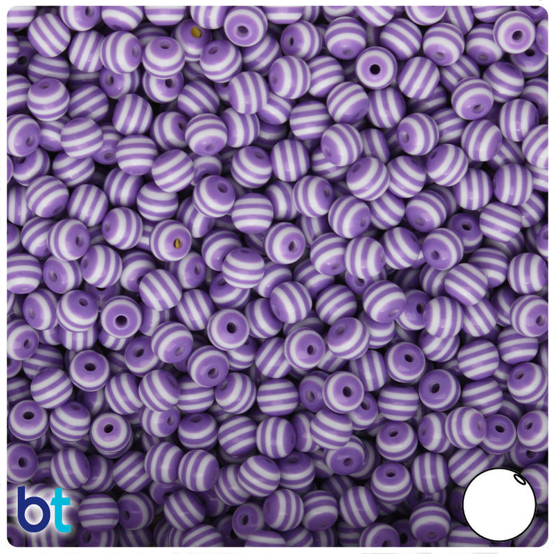 Purple & White Striped 6mm Round Resin Beads (150pcs)