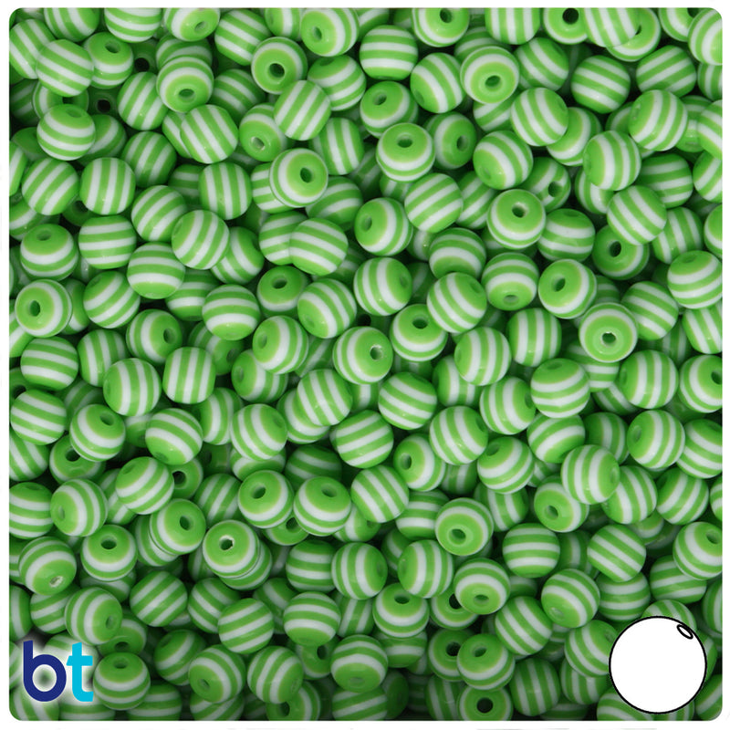 Green & White Striped 6mm Round Resin Beads (150pcs)
