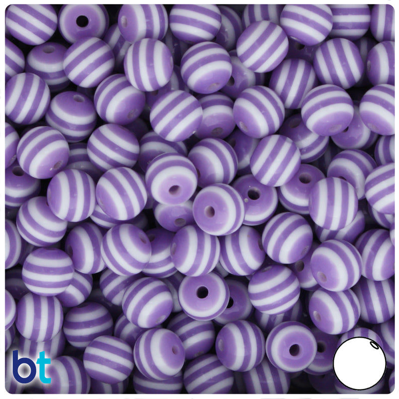 Purple & White Striped 10mm Round Resin Beads (75pcs)