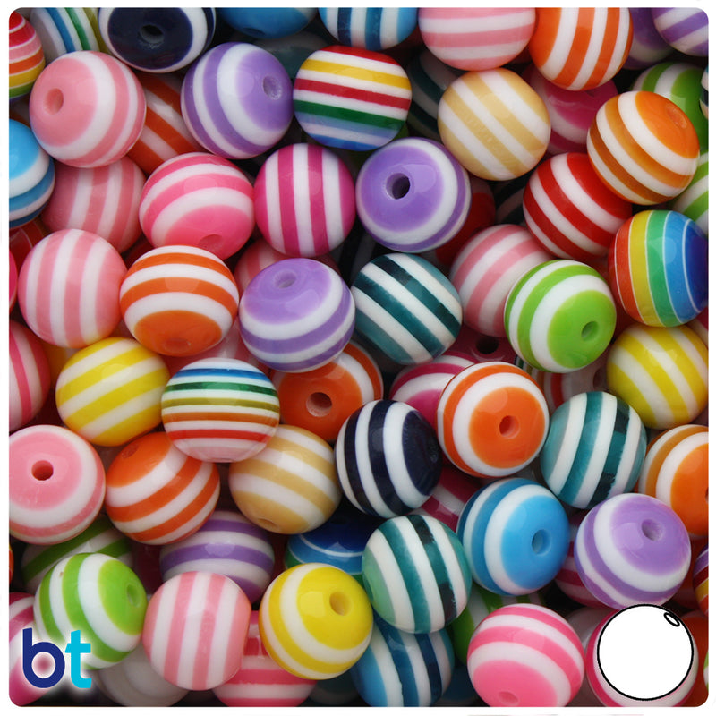 Mixed Striped 12mm Round Resin Beads (50pcs)
