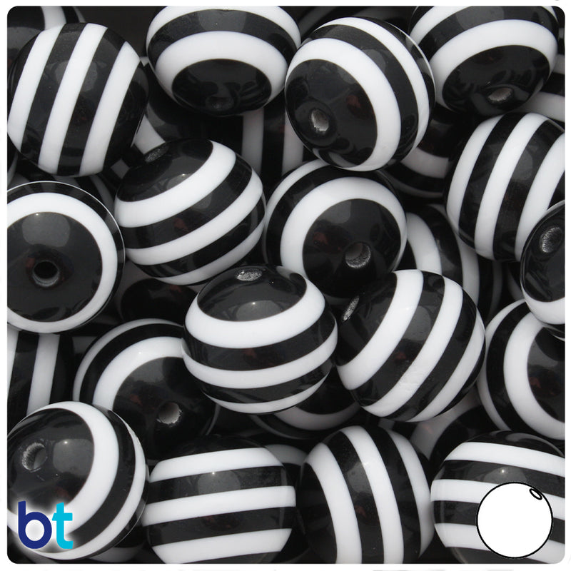Black & White Striped 20mm Round Resin Beads (10pcs)